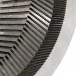 détails de la denture intérieur conique hélicoïdale d'un coloïdal broyeur à sucre industrie alimentaire chocolaterie