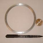 engrenage laiton et aluminium pour réalisation d'une horloge