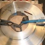 mortaisage largeur 70 H7 sur pièce diamètre 800 pour carde thiebau
