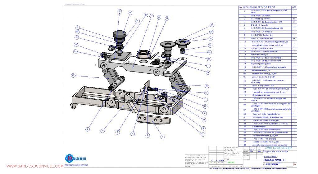 Support de pince droite éclatée plan pour machine d'injection alimentaire nid