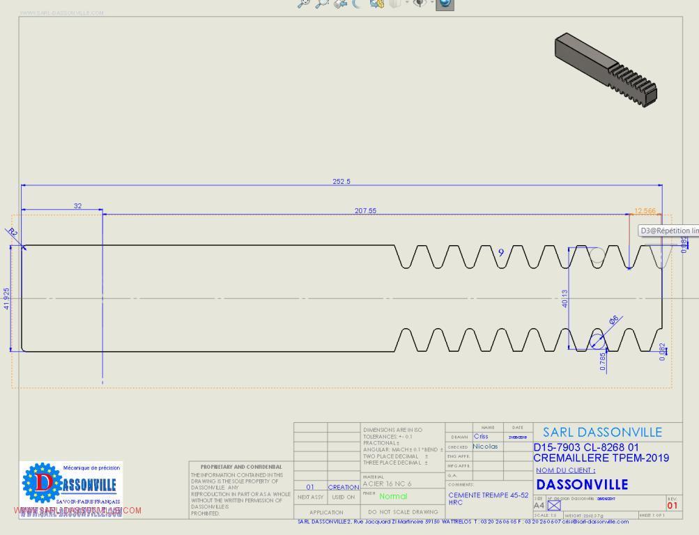 Crémaillère double forme exacte pour découpe au fil avec côte de contrôle