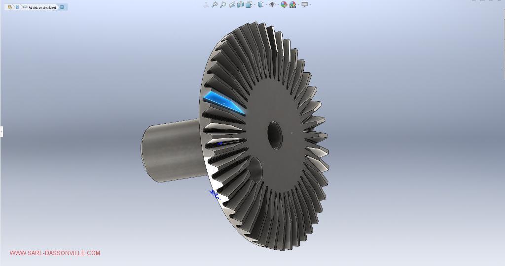 pignon conique CAO 3D pour empreinte moule injection plastique